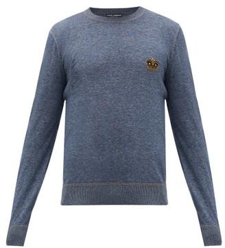 Dolce & Gabbana Crown-applique Cotton Sweater - Blue