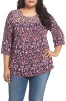 Lucky Brand Plus Size Women's Smocked Mix Print Top