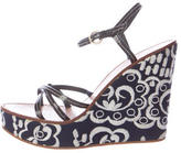 Miu Miu Strappy Embroidered Wedges