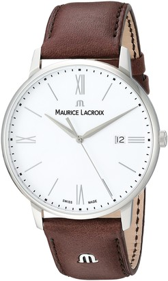 Maurice Lacroix Men's Eliros Stainless Steel Swiss Quartz Watch with Leather Calfskin Strap