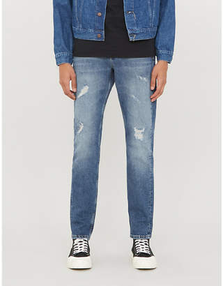 CK Calvin Klein Slim-fit tapered stretch-denim jeans