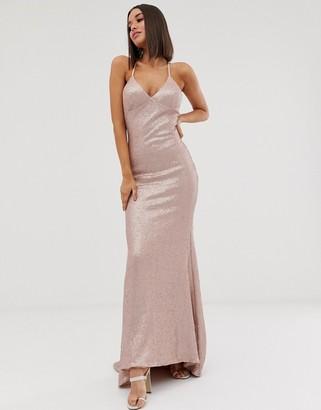 Club L London sequin cami fishtail maxi dress in pink