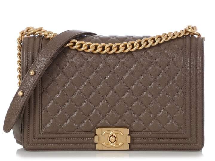 Chanel Boy Khaki Leather Handbags