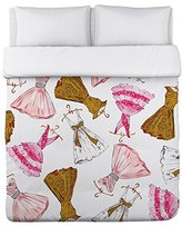 One Bella Casa Pretty Girl/Party Dresses Lightweight Duvet Cover by Timree Gold, Twin, Pink/White