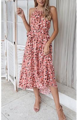 FS Collection Halterneck Tiered High Low Dress In Pink & Black Polka Dot