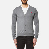 Ami Men's Heart Logo Cardigan Heather Grey