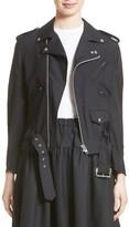 Comme des Garcons Women's Pinstripe Tropical Wool Moto Jacket