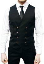 Pishon Men's Double Breasted Waistcoat Business Slim Fit Suit Separate Vest(XS-2XL)