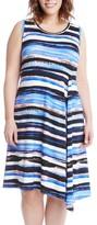 Karen Kane Plus Size Women's Painted Stripe A-Line Dress