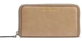 Brunello Cucinelli Bead-embellished Brushed-leather Continental Wallet