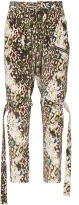 Sulvam Leopard-Print Drop-Crotch Jeans