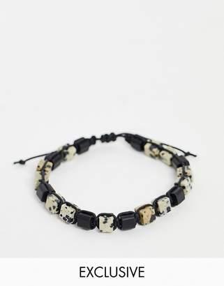 Reclaimed Vintage inspired beaded bracelet in semi precious stone exclusive to ASOS-Multi