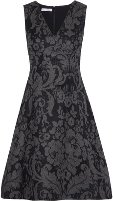 Oscar de la Renta Flared Brushed Wool-jacquard Dress