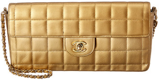Chanel Gold Quilted Lambskin Leather Medium Chocolate Bar East West Bag