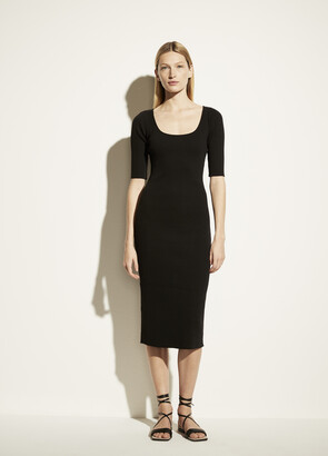 Vince Ribbed Elbow Sleeve Scoop Neck Dress