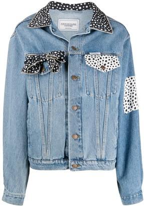 Forte Dei Marmi Couture Polka Dot Contrast Denim Jacket
