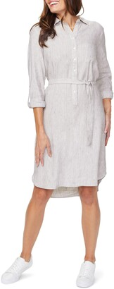NYDJ Linen Blend Long Sleeve Shirtdress