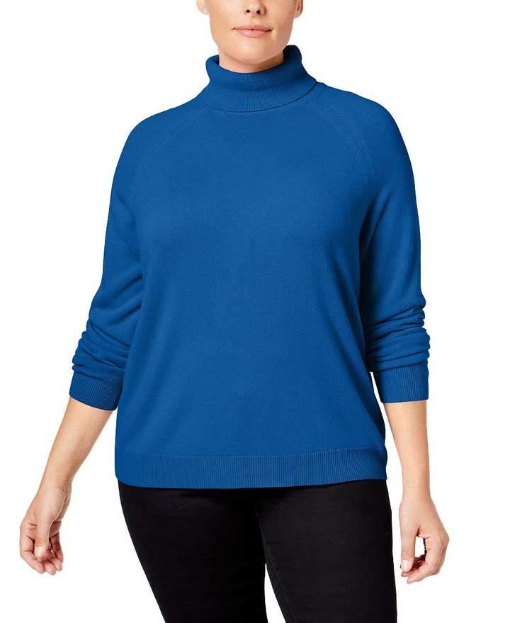 Karen Scott Womens Plus Knit Ribbed Turtleneck Sweater 3X