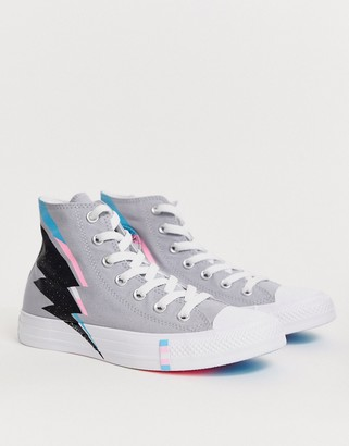Converse Trans Pride Chuck Taylor Hi All Star Gray Blue And Pink Lightening Bolt Sneakers