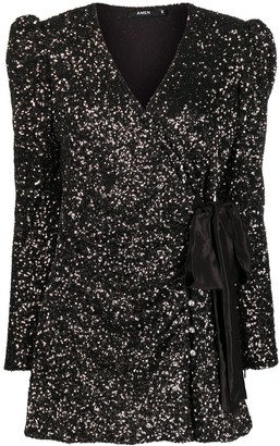 Amen Sequin-Embellished Wrap Dress