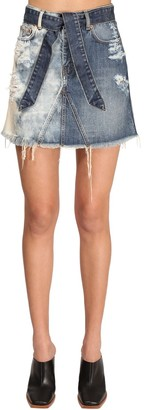 Givenchy Destroyed Cotton Denim Skirt