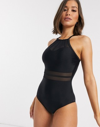 Pour Moi? Pour Moi Beach Bound high neck swimsuit in black