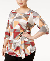 Alfani Plus Size Printed Faux-Wrap Top, Only at Macy's
