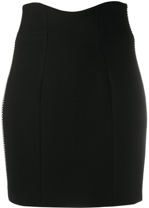 Philipp Plein Crystal-Stripe Trim Pencil Skirt
