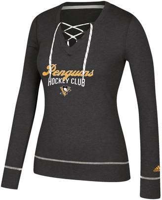 adidas Women's Heathered Black Pittsburgh Penguins Skate Through Long Sleeve Lace-Up V-Neck T-Shirt