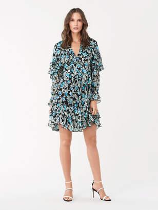 Diane von Furstenberg Martina Ruffled Chiffon Mini Wrap Dress