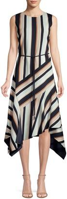 Lafayette 148 New York Marnie Belted Asymmetric Dress