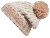 BP Women's Stripe Chunky Knit Beanie - Beige