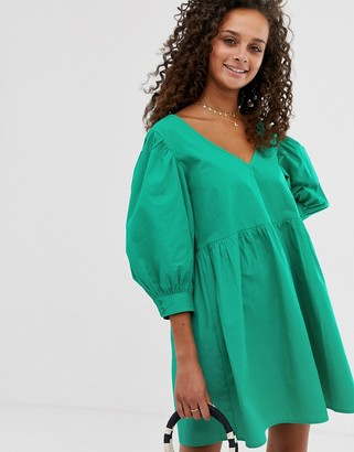 Asos Design DESIGN v front v back smock mini dress in cotton-Green