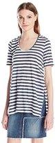 LAmade Women's Alyssa Denim Stripe High-Slit Top