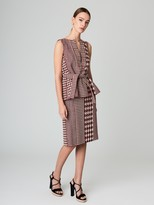 Oscar de la Renta Patchwork Houndstooth Tweed Pencil Skirt