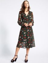 Marks and Spencer Floral Print Bubble Sleeve Wrap Midi Dress