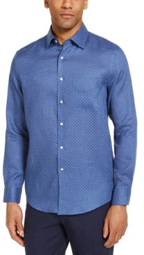 Tasso Elba Men's Distressed Dot Print Linen Woven Shirt, Created for Macy's