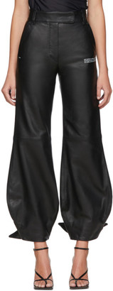 Off-White Black Leather Bow Trousers