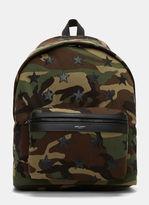 Saint Laurent Men's Camouflage Star Appliqué Canvas Hunting Backpack In Khaki