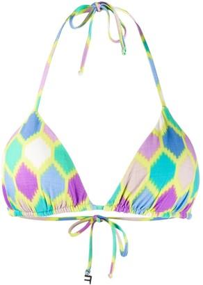 Fisico Geometric Print Bikini Top