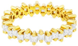 Suzanne Kalan Yellow Gold and Diamond Fireworks Eternity Ring (Size 6)
