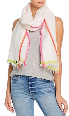 Fraas Bright Border Cotton, Linen & Wool Scarf
