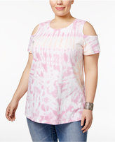 Style&Co. Style & Co Plus Size Cotton Tie-Dyed Cold-Shoulder Top, Created for Macy's