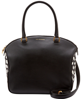 Lulu Guinness Lulu Guiness Bella Leather Scattered Lips Medium Shoulder Bag, Black/Chalk