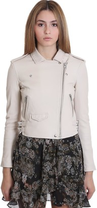 IRO Ashville Leather Jacket In Beige Leather