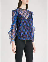 Sandro Paisley-print floral-lace top