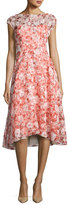 Lela Rose Flocked Poppy-Print Organza Dress, Red