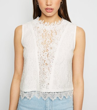 New Look Cameo Rose Lace Crochet Trim Top
