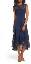Shoshanna Women's Allachie Lace & Crepe High/low Midi Dress