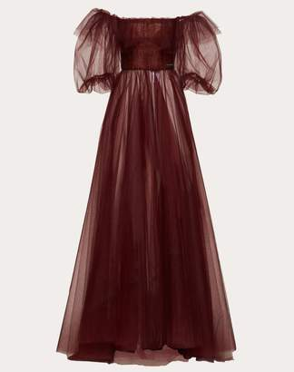 Valentino Tulle Evening Dress With Poetry Detailing Women Maroon 100% Poliammide 40